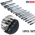 12x Heavy Duty Leather Hollow Punch Set Rectangle Oblong Oval Hole Cutter Tools