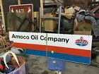 VINTAGE AMOCO 8ft PORCELAIN SIGN HARD two find.