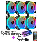 6Pack PC Cooling Fan RGB LED Multicolor mode 12cm Quiet Chassis Fan+Controller