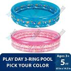 Play Day Round Inflatable Shark Unicorn 3 Ring Pool For Kids 65x145