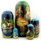 Nativity of Christ Christmas 5 Piece Russian Nesting Dolls Made in Russia