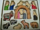 Lillian Vernon Wooden Christmas Nativity Manger Miniature 16 Piece Wood Set 1988