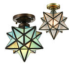 Moravian Star Ceiling Light Tiffany Style Frosted Glass Hallway Flush Mount Lamp