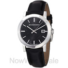 NEW - Burberry The City Black Leather Strap Check Dial 38mm Men's Watch BU9009