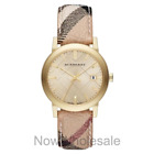 NEW - Burberry Watch Women BU9026 The City Champagne Dial Haymarket Check Strap!
