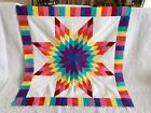 Rainbow Lone Star Patchwork Quilt Top LS 030 Made in U S A