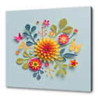 BEAUTIFUL GREEN RED PINK YELLOW PAPER CUT FLOWERS ABSTRACT CANVAS PRINT WALL ART