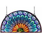 Chloe Peacock Design Half Round Stained Glass Window Panel Multi Color