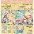Graphic 45 FAIRIE WINGS 8x8 Paper Pad 24 Sheets Garden Fairy Flowers New