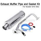 For GY6 50CC Scooter Chrome High Performance Exhaust Muffler Pipe Slip On