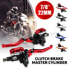 Pair 7 8 Motorcycle Master Cylinder Hydraulic Brake Clutch Levers Reservoir