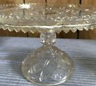 VINTAGE Beautiful Cut Glass Clear Cake Stand 9x6 inch