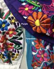Flower embroidered mexican face mask Black green indigo purple red navy