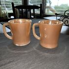 Two Vintage Fire King Oven Ware Pink D Handle Coffee Mug Cup