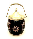 Antique Biscuit Jar Bohemian Glass Deep Red Cut to Clear 95 Tall to Handle