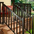6 ft Aluminum Stair Railing Black Hand Base Rail Kit Handrail Outdoor Deck DIY