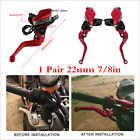 1 Pair 7/8in Motorcycle Handlebar Hydraulic Clutch Brake Pump Levers Aluminum