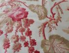 Antique French Botanical Floral Roses  Foliage Cotton Fabric 2 Pink Red Sage