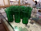 14 VINTAGE ANCHOR HOCKING  EMERALD FOREST GREEN RIBBED  GLASSES