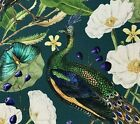 Peacock Botanic Flowers Art Craft Blue Green Printed Cotton Fabric by Meter