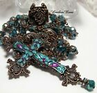 HANDMADE COPPER ROSARY HANDPAINTED FLORAL STATEMENT CROSS PEACOCK GREEN GLASS