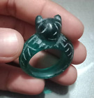 Old Handmade Antique PYU Blue Green Translucent Glass Cat Face Amulet Ring