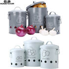 Set of 3 Potato Onions Garlic Kitchen Storage Tin Canisters Jars Food Containers