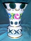 Vintage Czech Bohemian Vase Glass Cased Enamel Hand Painted White Cut to Green