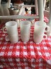 VINTAGE FIRE KING WHITE STACKABLE MUGS UNUSED SET OF 6