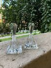 Pair Vintage Clear Glass Czech Perfume Bottles With A Stopper