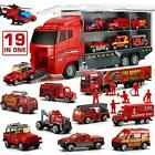 19 in 1 Fire Truck With Firefighter Toy Set Mini Die Cast Fire Engine Car