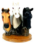 Handsome 3 Horse Head Animal Statue Figurine on Wood Base Excellent Condition