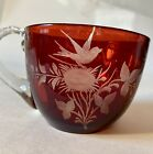 Antique Ruby Red Flash Stained Souvenir fancy etched glass Atlantic City bird