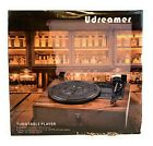 Udreamer Vinyl Record Player Bluetooth Turntable Built in Speakers Brown