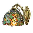 Retro Green Dragonfly Wall Sconce Tiffany Style Stained Glass Wall Light Fixture