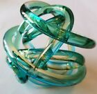 Vintage Green Art Glass Rope Knot Sculpture or Paperweight 5 Estate Find