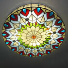 Peacock Tail Stained Glass Round Flush Mount Ceiling Light Tiffany Chandelier