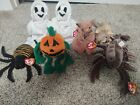 Lot of Ty Beanie Babies:Spinner,Pumpkin,Sheets (2), Batty, Tiptoe, and Stinger