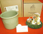 2 piece Maggie Boyds Bear Candle Crock Topper and Sage 1 Pint Crock Longaberger