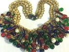 LARGE VINTAGE UNSIGNED HASKELL 1930s BOOK CHAIN GLASS FESTOON BRASS NECKLACE