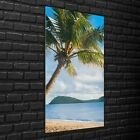 Wall Photo Art Picture Glass Print 70x140 Tropical beach with palm trees
