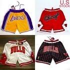 Chicago Bulls Pinstripes Red White Los Angeles Lakers Vintage Mens Shorts S 2XL