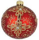 New Mouth Blown Polish Glass Red with Gold Matte Christmas Ornaments 8 Pack