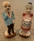 Vintage Old Lady Man Salt  Pepper Shakers Pregnant Couple One More Time Japan