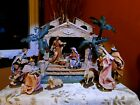 Vintage Nativity Set by Pacific Rim 7 Fabric Mache 9 PC W Grecian Style Stable