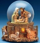 SNOW GLOBES FONTANINI AWAY IN THE MANGER LIGHTED MUSICAL NATIVITY SNOW GLOBE