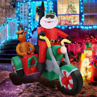 6FT Long Lighted Christmas Inflatable Santa Claus on Motorcycle Reindeer Outdoor