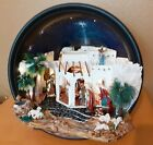 Handcrafted nativity scene in plastic pot unique piece with 3 tall figurines