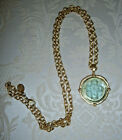 SUSAN SHAW Long Venetian Glass Cross Intaglio Pendant Necklace 30 Gold Plated