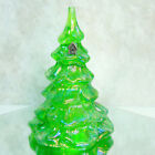 Fenton CHRISTMAS TREE Iridescent Green Glass Snow Frosted Silver Bird House 65